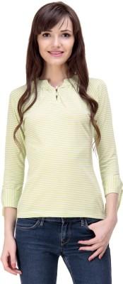 Ebry Casual 3/4 Sleeve Striped Women's Green Top