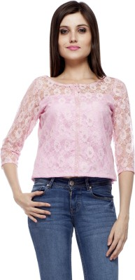PrettyPataka Party 3/4 Sleeve Floral Print Women's Pink Top