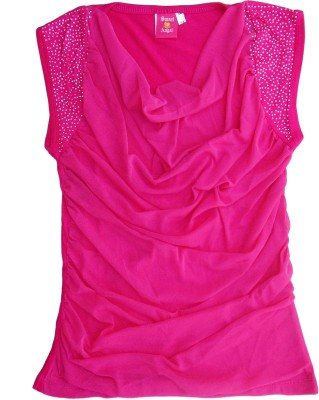 Sweet Angel Casual Sleeveless Embellished Girl's Pink Top
