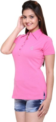 In Love Solid Women's Polo Neck Pink T-Shirt