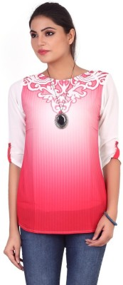 Pink Nine Casual 3/4 Sleeve Printed, Embellished Women's White, Pink Top