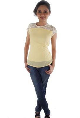 Buenos Dias Casual Short Sleeve Solid Women's Beige Top