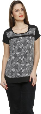 Bani Party Short Sleeve Printed Women's Black Top