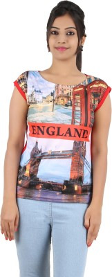 Cute Raskals Party Short Sleeve Graphic Print Women's Red Top