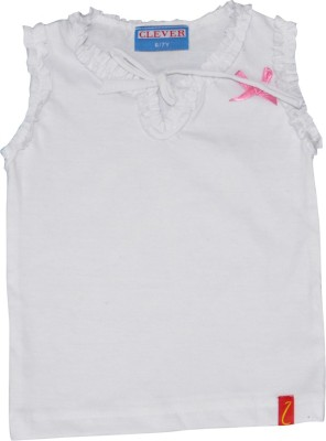 Clever Casual Sleeveless Solid Baby Girl's White Top