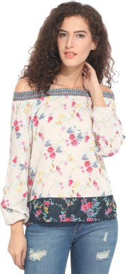 Hook & Eye Casual Full Sleeve Printed Women's Multicolor Top