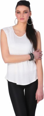 Rediscover Fashion Casual Short Sleeve Solid Women's White Top
