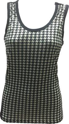Dovekie Casual Sleeveless Printed Women's Black, White Top