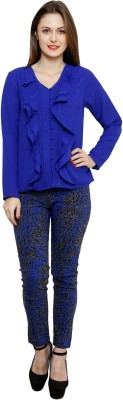 BANI Party Full Sleeve Solid Girl's Blue Top