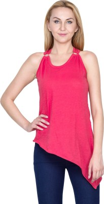 Golden Couture Casual, Festive, Formal, Lounge Wear, Party Sleeveless Solid Women's Red Top