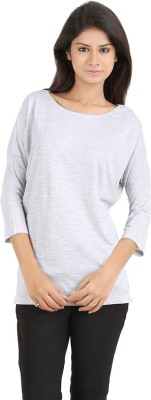 MA Casual 3/4 Sleeve Solid Women's Grey Top