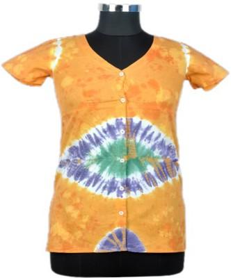 Jaipur Vogue Casual Short Sleeve Printed Women's Yellow Top