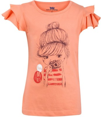 Bells and Whistles Casual Cape Sleeve Printed Girl's Pink Top