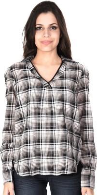 SHIBORI Casual Roll-up Sleeve Checkered Women's Black Top