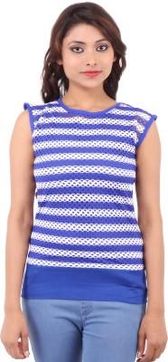Clo Clu Casual Sleeveless Striped Women,s Blue Top