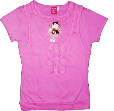 Sweet Angel Formal Short Sleeve Self Design Girl's Pink Top