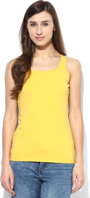 Tshirt Company Casual Sleeveless Solid Women's Yellow Top
