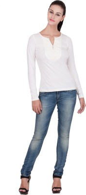 Hlsangam Casual Full Sleeve Self Design Women's White Top