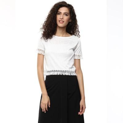 BLUE ISLE Casual Short Sleeve Self Design Women's White Top