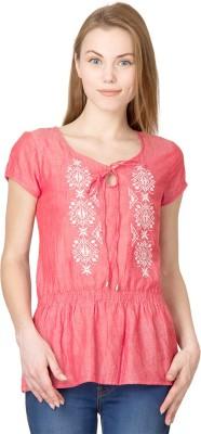Latin Quarters Casual Short Sleeve Self Design Women's Pink Top