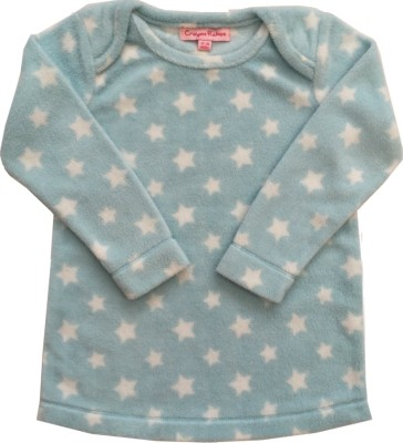 Crayon Flakes Casual Full Sleeve Printed Baby Girl,s Light Blue Top
