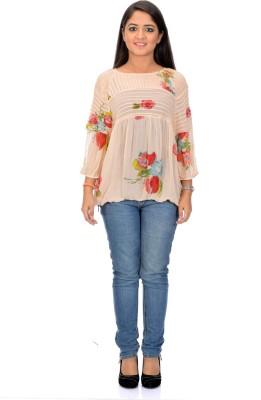 Arya Casual Balloon Sleeve, 3/4 Sleeve Floral Print Women's Multicolor Top