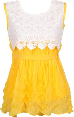 Gee & Bee Casual Sleeveless Embroidered Girl's Yellow Top