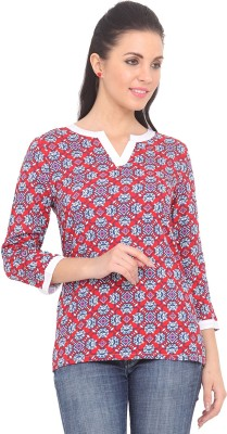 Ridress Casual 3/4 Sleeve Printed Women's Multicolor Top