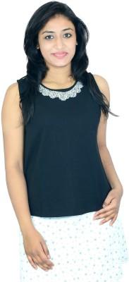 Shopaholic Fashion Casual Sleeveless Printed Women's Black Top