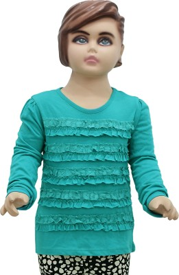 Urban Forest Casual Full Sleeve Solid Baby Girl's Green Top