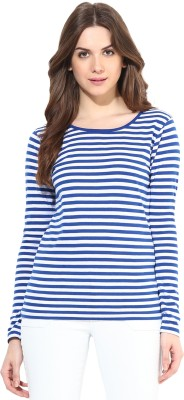 Miss Chase Party Full Sleeve Striped Women's Blue Top
