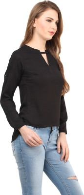 AT BY TARUNA Casual Full Sleeve Solid Women's Black Top