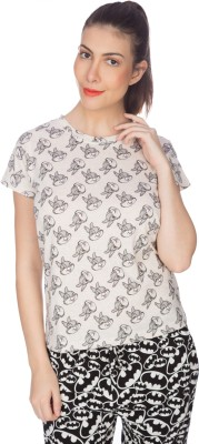 karney Casual Short Sleeve Printed Women's White Top