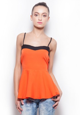 Popnetic Casual Sleeveless Solid Women's Orange Top