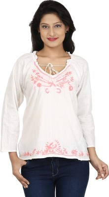 Clo Clu Casual Full Sleeve Embroidered Women,s White, Pink Top