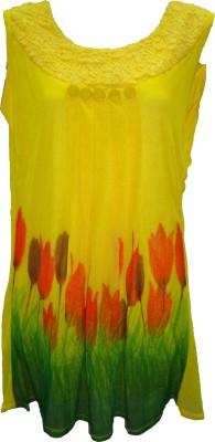 Deesha Casual, Festive, Formal, Party Sleeveless Self Design Women's Yellow Top