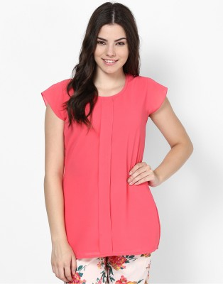 Athena Casual Short Sleeve Solid Women's Pink Top at flipkart