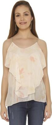 Tenn Casual Sleeveless Printed Women's Orange, White Top