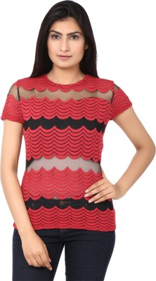 Clo Clu Casual Short Sleeve Solid Women,s Red, Black Top