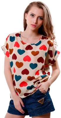 1410 Casual, Formal Short Sleeve Graphic Print Women's Multicolor Top