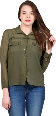 LA ATTIRE Casual Full Sleeve Self Design Women's Green Top