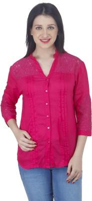 Hapuka Casual 3/4 Sleeve Solid Women's Red Top