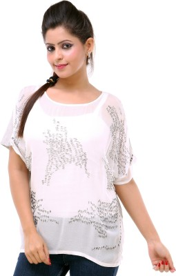Kashana Fashions Party Short Sleeve Embellished Women's White Top