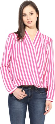 Color Cocktail Casual Full Sleeve Striped Women's Pink Top