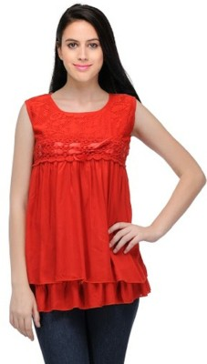 PINK SISLY Casual Sleeveless Solid Women's Red Top