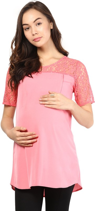Mine4Nine Party Short Sleeve Embroidered Women's Pink Top