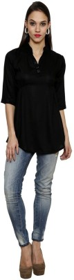 Sea Lion Casual 3/4 Sleeve Solid Women's Black Top