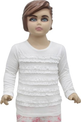 Urban Forest Casual Full Sleeve Solid Baby Girl's White Top