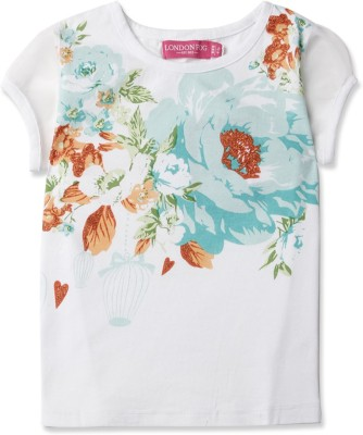 London Fog Casual Short Sleeve Graphic Print Girl's White Top
