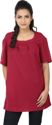 Tops and Tunics Formal Short Sleeve Solid Women's Maroon Top